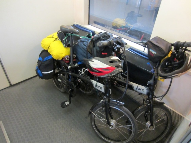 Our bikes, secure on the train from Cuenca to Valencia.