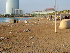 Barceloneta Beach the morning after the night before.