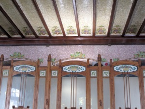 The ceiling and the top portion of the ticket sales counter.