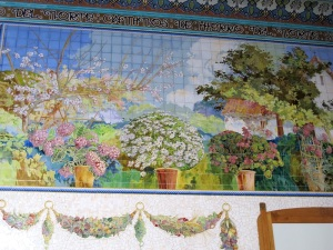 Exquisite tile work on one of the main hall walls.