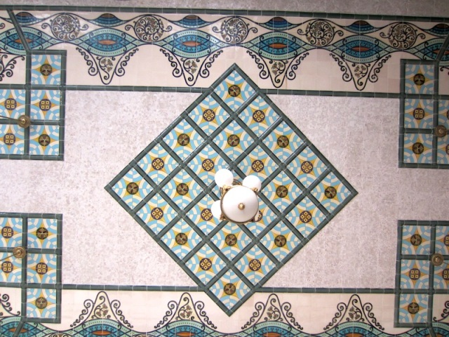 The tiled ceiling of a room off the main hall.