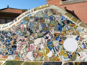 A seat backrest, a fine example of Trencadis. This seat was at Parc Guell.