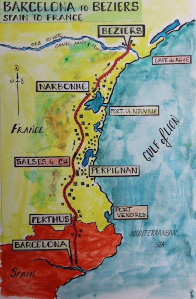 2 map Barcelona to Beziers Fred and Bevs Odyssey
