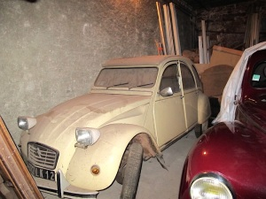 The French cult car, the Citroen 2CV, gathering dust and no doubt increasing in value.