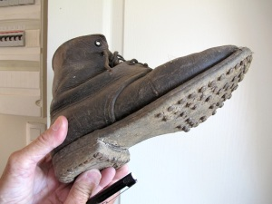 Sebastian's grandfather's wartime hobnailed boot. Nails for boots were called hobnails because they were made on the hob of the fire, mostly by the women of the house.