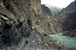 Narrow mountain road in northern Afghanistan. Image credit: Untamed Borders Adventure Travel.