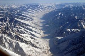 Wakhan Corridor, separating the Pamir Mountain Range and the Hindu Kush.   Image credit: Steve Swenson's Blog.  Steve is an American alpine adventurer.