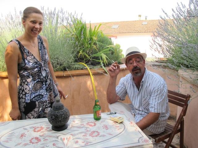 Veronica and Sebastian in their garden.