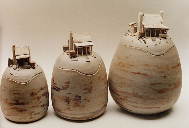 Canisters with flea size buildings. The rainwater tank was about 8mm in diameter.