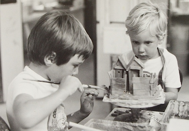 Our two boys in the 1980s working on a double dunny. Tim left Toby right.