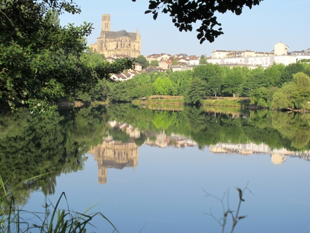 View across the Vienne River from one of the many bike paths. The church on the hill is the Cathedrale St Etienne de Limoges.