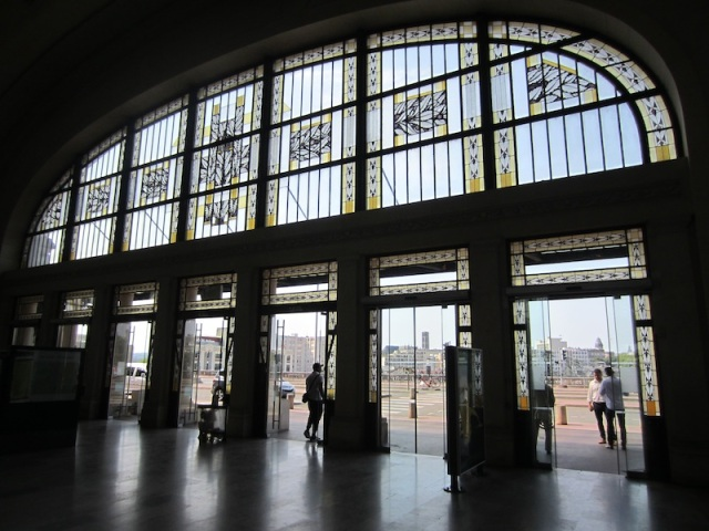 Limoges railway station, looking from the inside out.