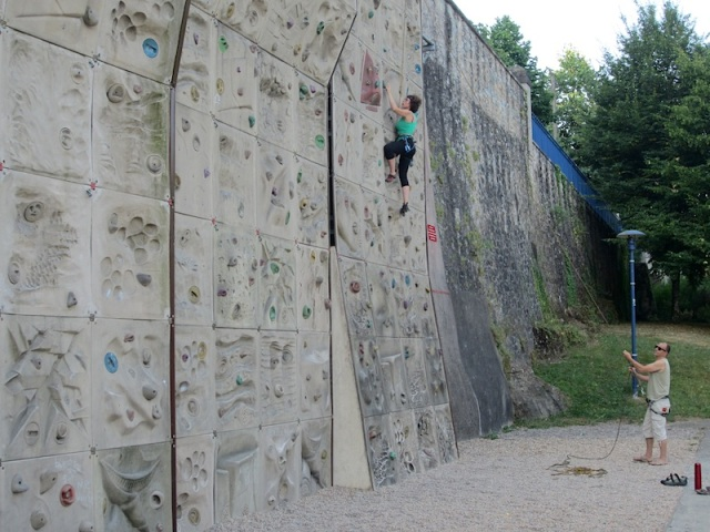 A couple of locals doing an early morning workout on the Limoges climbing wall.
