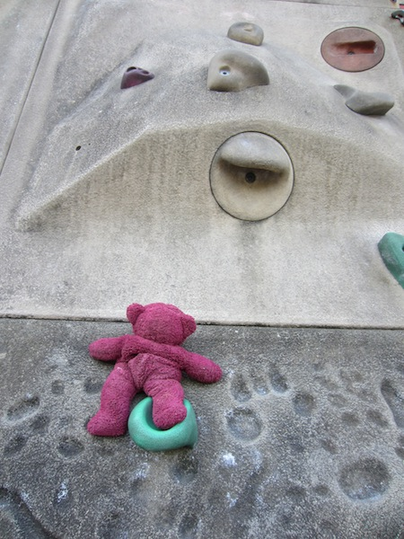 Even BBear has a go at climbing the Limoges wall.