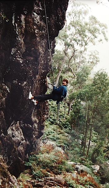 Bev on the rock in the 1990s.