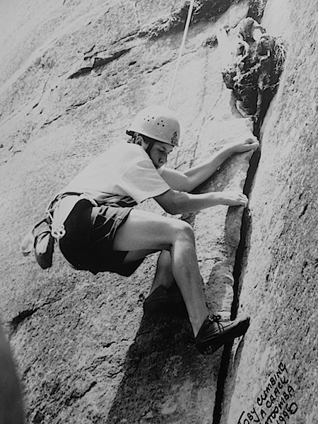 Toby climbing a crack.
