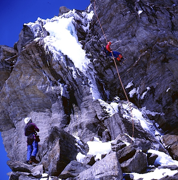 A group of student climbers on the rope in New Zealand. Photograph taken by our son Toby in late 1990s during a training session on Mount Aspiring. This photograph is from a scanned 6 x 7 roll film transparency.