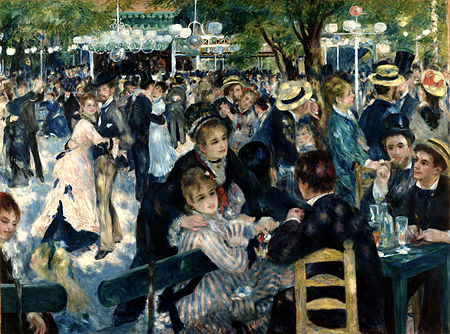 Moulin de la Galette (a club frequented by bohemians at the time) by Pierre-Auguste Renoir 1876. Image credit: theartwolf.com Image via Wikipedia and in the public domain including the USA.