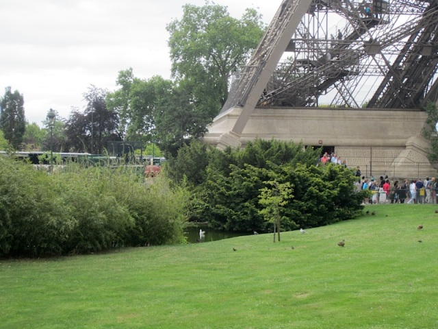 A possible stealth campsite under one of the lakeside shrubs adjacent to the Eiffel Tower.