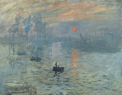 Impression Sunrise by Monet 1872. Image via Wikipedia and in the public domain including the USA.