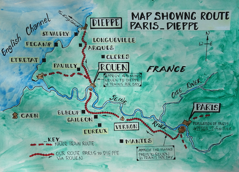 Map Paris To Dieppe Rail Fred And Bevs Odyssey - Paris map 2016