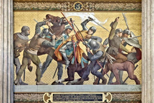 Joan being captured by Burgundian soldiers. Painting by E.J. Lenepveu (1886-1890) part of a frieze in the Pantheon Museum Paris.