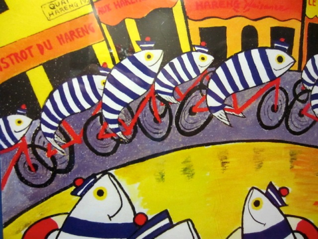 Dieppe poster of fish on bikes.