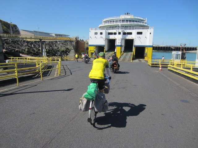 A fellow cyclist riding into the stern of the Dieppe to Newhaven ferry.