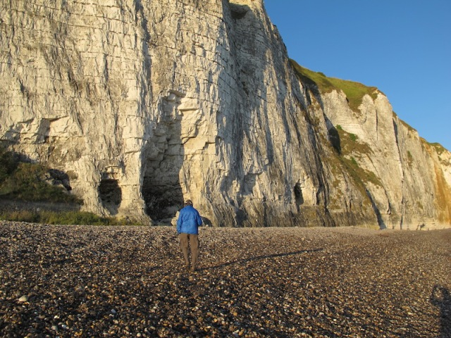 Chalk cliffs, Dieppe. I ventured into one of the cliff caves and to my surprise found a person asleep. Homeless or a refugee?