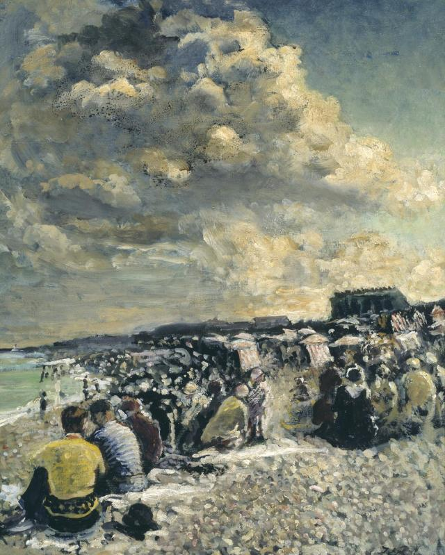 Summer crowds under beautifully painted clouds. August Morning, Dieppe Beach circa 1934 by Jacques-Emile Blanche (1861-1942). Image source: Released under creative commons Tate Gallery CC-BY-NC-ND.