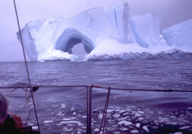 Solo sailing past an iceberg en route to the South Pole.