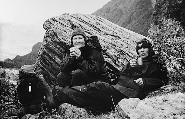 Together having a cuppa in the wilds of New Zealand 1990s