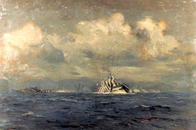 A painting by Norman Wilkinson of a 1918 vessel showing dazzle camouflage. Image credit: This image was created and released by the Imperial War Museum under an IWM Non Commercial License and is therefore available for non-commercial use.