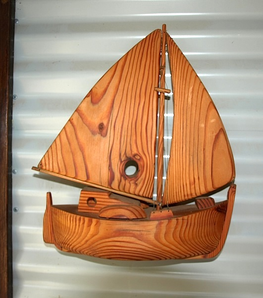 Sailing boat about 350mm long made from oregon timber, made when I was seventy.