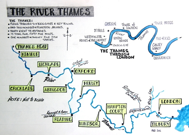 The course of the River Thames. Many of the settlement names shown on the above map will no doubt be familiar with the reader.