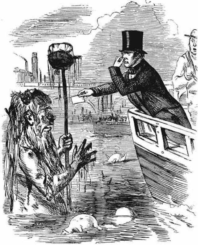 Professor Michael Faraday (1791-1867) giving his card to Old Father Thames. Image credit: In the public domain as author John Leech died in 1864.