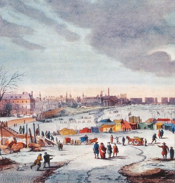 A frozen Thames (1683-1684). Image credit: In the public domain including the US. Scan from FT magazine by Thomas Wyke.