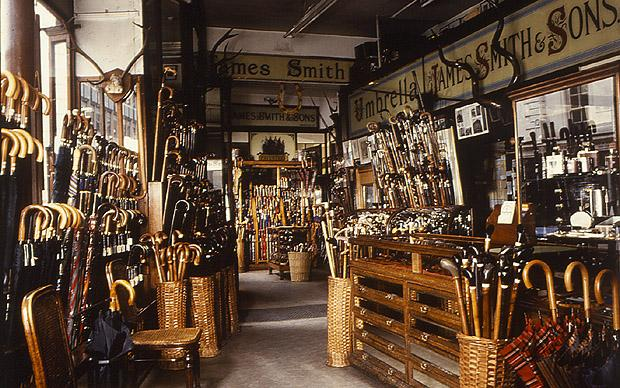 Interior view of the world famous James Smith and Sons umbrella shop. The business was founded in 1830 and is still a family run business.
