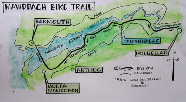 Map showing the fifteen kilometre long Mawddach Bike Trail.