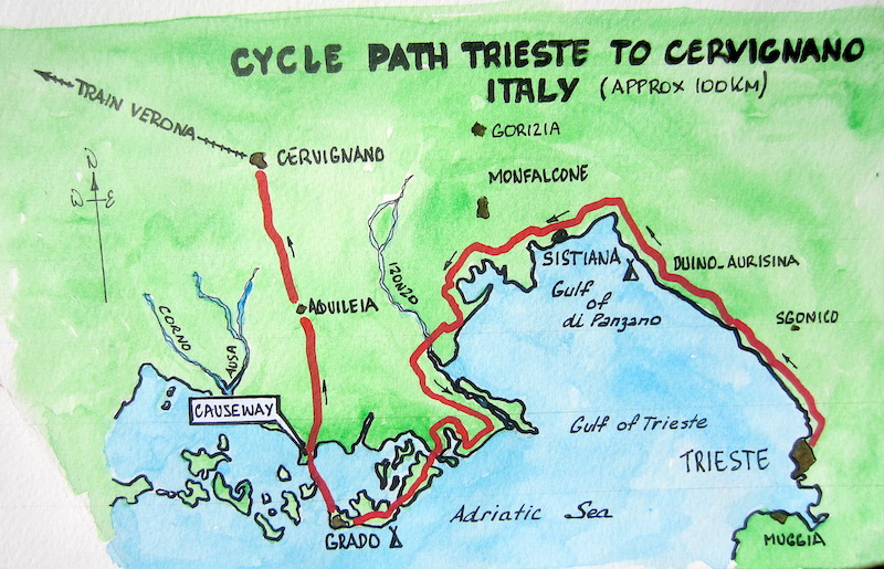 2 Map bike route Trieste to Cervignano Fred and Bevs Odyssey